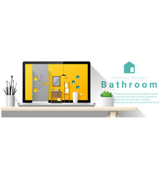 modern bathroom interior design background vector image vector image