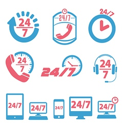 open 24 hours a day and 7 days a week icons vector image
