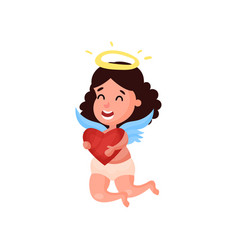 sweet little brunette angel girl flying with red vector image
