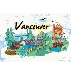 vancouver doodles vector image vector image