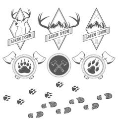 Vintage camping labels badges and design elements vector image