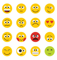 yellow smile emoji set isolated on white vector image
