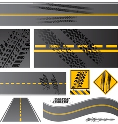 Asphalt road with tire tracks vector image vector image