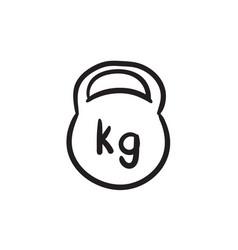 Kettlebell sketch icon vector