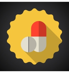 Medical Pill Flat Icon vector image vector image
