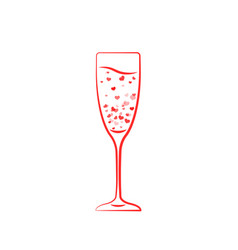 one champagne glass hearts vector image