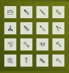 Tools icons line style set with multifunctional vector