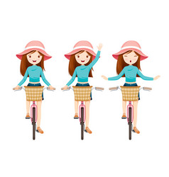 young woman riding bicycle set vector image