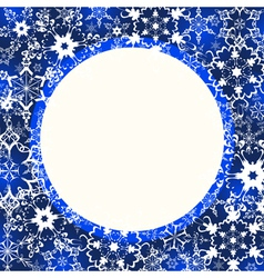 Blue winter frame with ornate snowflakes vector image vector image
