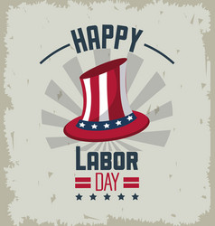 colorful emblem of happy labor day with american vector image vector image