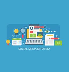 flat modern concept social media strategy vector image vector image