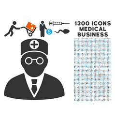 head physician icon with 1300 medical business vector image vector image