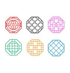 Modern hexagon korean pattern window frame vector