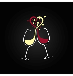 red and white wine love concept design background vector image vector image