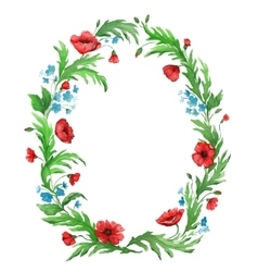Watercolor flower wreath from poppies vector image vector image