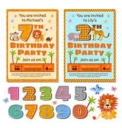 children birthday party invitation card vector image vector image