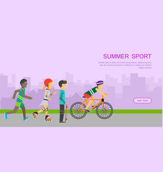 children going in for sport web banner poster vector image vector image