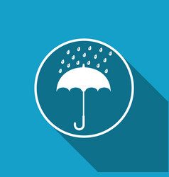 umbrella and rain drops icon with long shadow vector image