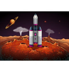A rocket at outerspace with planets vector