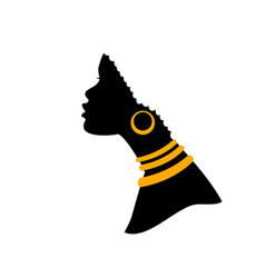 african american woman profile black silhouette vector image