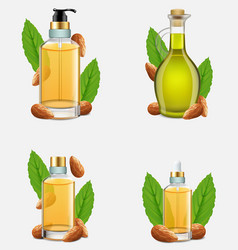 Almond nut oil bottle set realistic vector