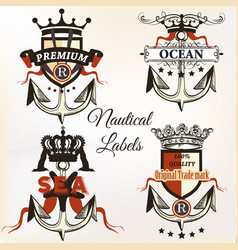 antique nautical logotypes or label with anchor vector image