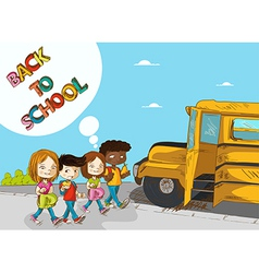 Back to school education kids walking to school vector image