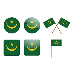badges with flag of Mauritania vector image