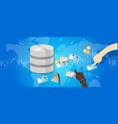 big data monetization selling database pay with vector image