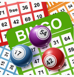 bingo balls on a background cards vector image
