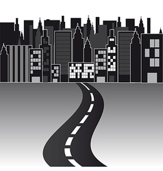 Black and white city with road background vector