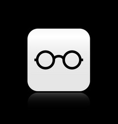 Black glasses icon isolated on black background vector
