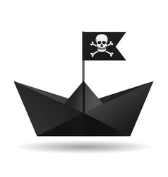 Black paper boat with a pirate flag white vector