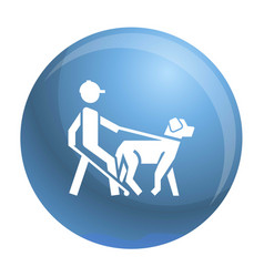 Blind man dog pet icon simple style vector