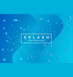 blue fresh cool water drop splash or vapor vector image