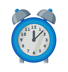 blue old fashioned alarm clock time measuring vector image