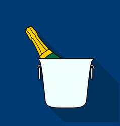 bottle of champagne in an ice bucket icon in flat vector image