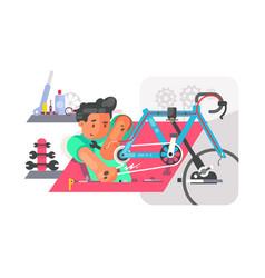 boy repair bike vector image