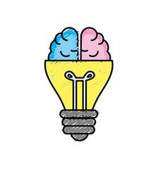 Bulb with brain to creative idea vector