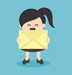 business woman holding envelope vector image
