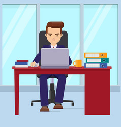 businessman working in office with a laptop vector image