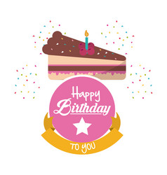 Cake happy birthday design vector