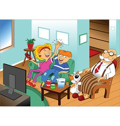 Cartoon family watching tv vector