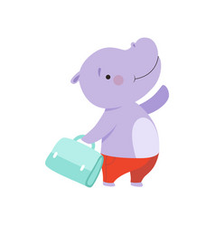 Cheerful tourist hippo with bag cute animal vector
