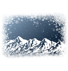 christmas background with mountains vector image