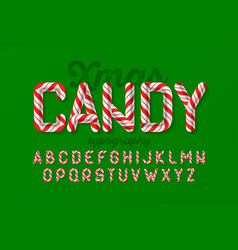 Christmas candy cane font vector