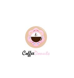 coffee donuts logo design vector image