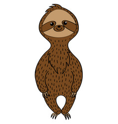 Cute sloth in a cartoon style vector