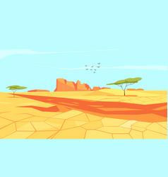 Deserted land flat composition vector