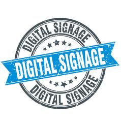 Digital signage round grunge ribbon stamp vector